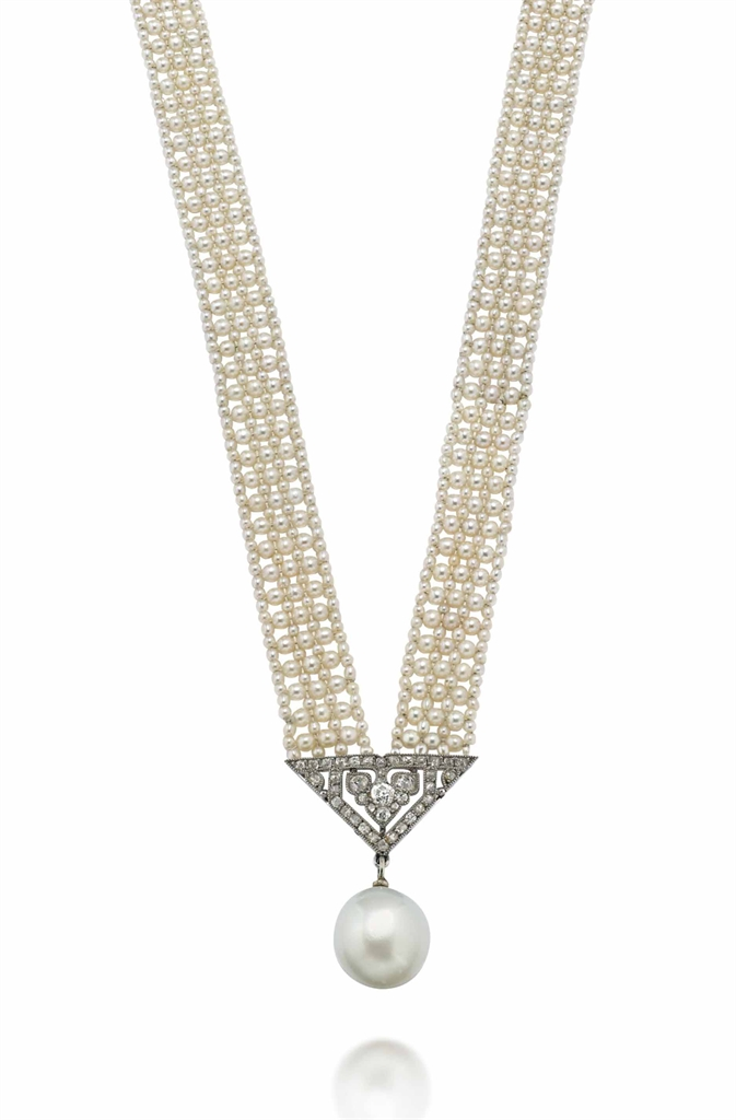 an early 20th century natural pearl necklace by cartier. Black Bedroom Furniture Sets. Home Design Ideas