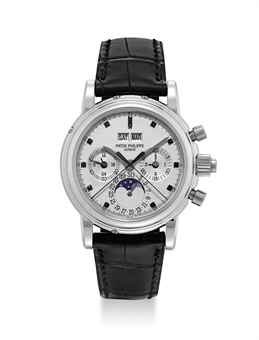 PATEK PHILIPPE. A VERY RARE PLATINUM PERPETUAL CALENDAR SPLIT SECONDS CHRONOGRAPH WRISTWATCH WITH UNUSUAL BLACK DIAMOND-SET DIAL, MOON PHASES, 24 HOUR AND LEAP YEAR INDICATION, ORIGINAL CERTIFICATE AND ADDITIONAL CASE BACK