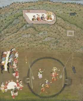 Maharana Sangram Singh hunting wild boar