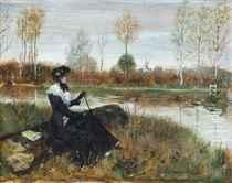 Elegant company on the riverbank