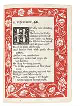 ASHENDENE PRESS -- MILTON, John (1608-74). Three Poems. [London:] The Ashendene Press, 1896. 4° (219 x 155mm). One page within red woodcut border and two pages within black woodcut border. Blue morocco gilt by W.H. Smith, gilt spine. Provenance: Charles Harry St. John Hornby (1867-1946; gift inscriptions dated 1896 to:) -- Frederick Smith, 2nd Viscount Hambleden (1868-1928) and Esther Smith -- William Henry Smith, 3rd Viscount Hambleden (1903-1948; book label).