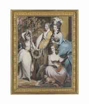 A full length portrait of Mary Sturt of Crichel (1740-1807) standing with her three eldest children, Diana, Mary and Humphry