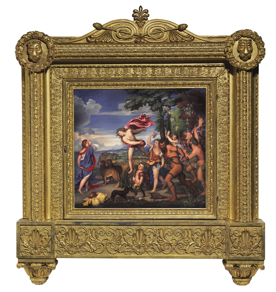 AN ENAMEL PLAQUE OF BACCHUS AND ARIADNE BY HENRY BONE, R.A