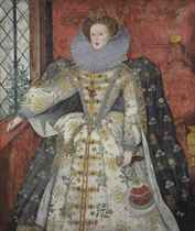 Portrait of Queen Elizabeth I (1533-1603), three-quarter-length, with an ermine, in a richly embroidered and bejewelled white dress and ruff, a mantle decorated with flowers, holding a fan and a glove in her left hand and olive branches in her right, in an interior