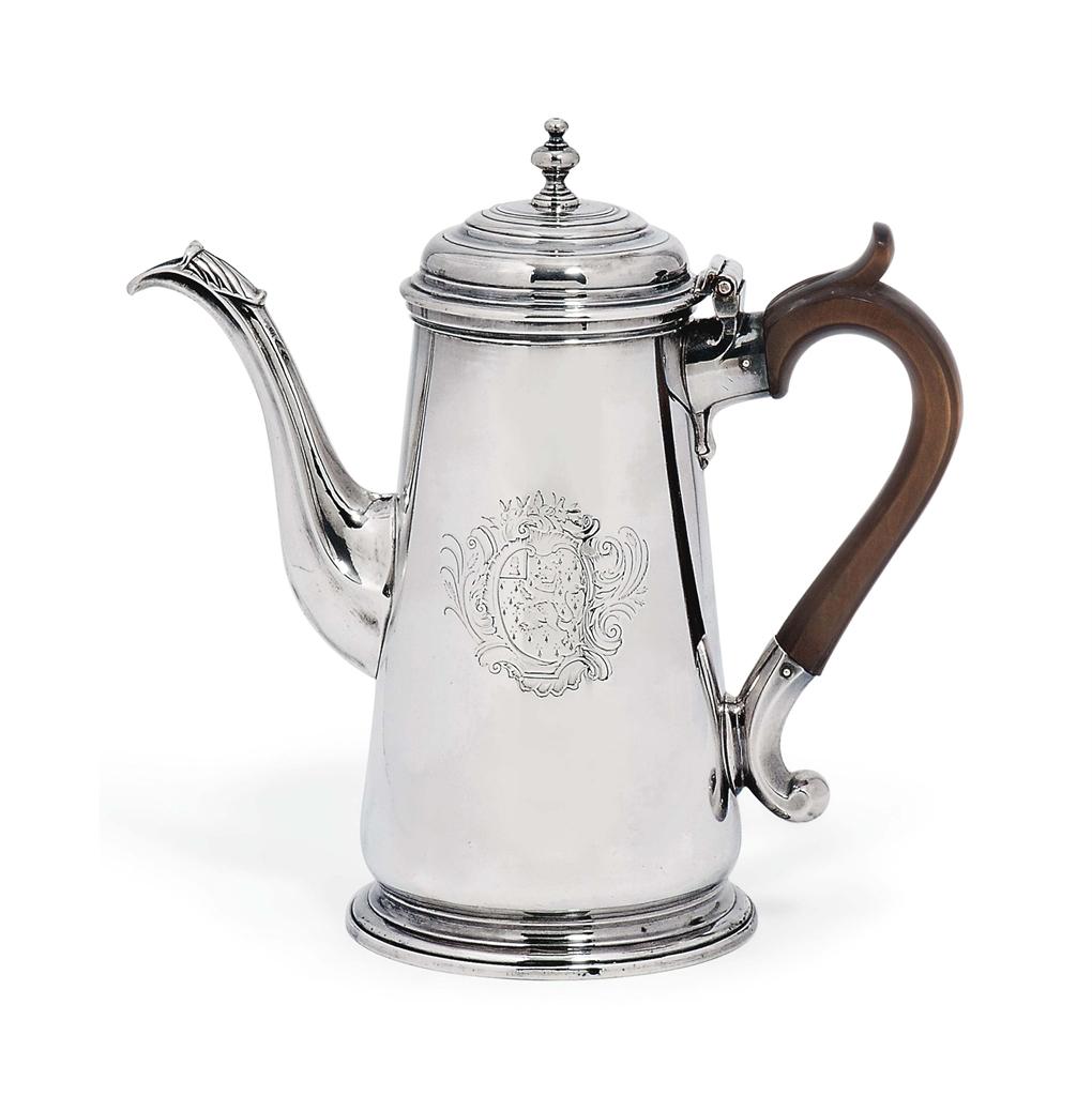 A George Ii Silver Coffee Pot Mark Of Peze Pilleau
