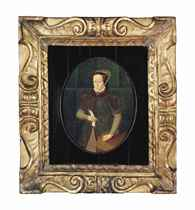 Portrait of Mary I, Queen of England (1516-1558), small three-quarter-length, in a dark red coat with fur collar, holding a letter at a draped table
