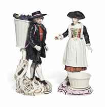 A FRANKENTHAL FIGURE OF A VINTNER AND A FIGURE OF AN APPLE SELLER