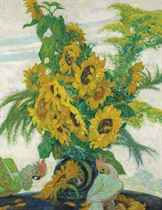 A Still Life with Sunflowers on a Table with Parrots