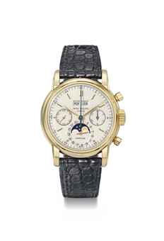 Patek Philippe. An extremely fine, very important and probably unique, 18K gold perpetual calendar chronograph wristwatch with moon phases retailed by Cartier