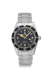Rolex. An extremely rare stainless steel automatic wristwatch with sweep centre seconds, bracelet and Explorer Dial