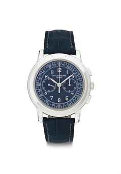 Patek Philippe. A large and rare platinum chronograph wristwatch with dark blue dial