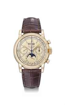 Patek Philippe. An exceptionally fine, rare and important 18K pink gold perpetual calendar chronograph wristwatch with moon phases