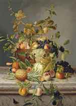 Plums, greengages, grapes, peaches, apples, raspberries and cherries in an urn on a marble ledge, with a pineapple, marrow and other fruits beside, surrounded by butterflies