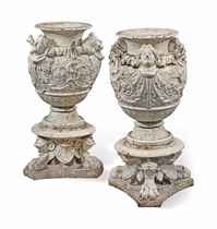 A PAIR OF FRENCH PAINTED CAST-IRON URNS