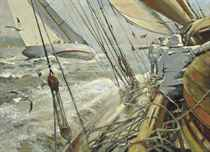 Velsheda and Vida IV competing in the Clyde Corinthian Regatta, on the Firth of Clyde