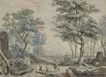 Personnages près d'une fontaine, un port à l'arrière-plan; et Personnages à l'antique près d'une rivière dans un parc