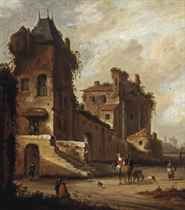 A 'capriccio' view of a village street with a couple on horseback and other figures