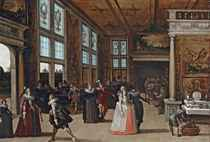 A palace interior with elegant couples courting at a ball