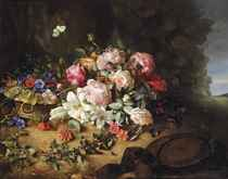 Gallica roses, white lilies, carnations, cornflowers, hollyhocks, honeysuckle, an ivy branch and butterflies on a forest floor