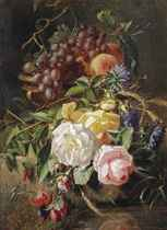 Roses, wild cornflowers, several other flowers, grapes and peaches in a vase on a stone ledge