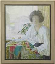 Portrait of Lydia Vytchegjanine, the artist's wife, seated by the window of their home on Vasilevsky Ostrov, Petrograd