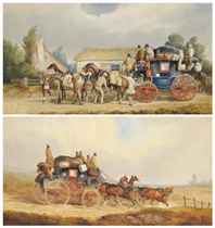 Changing horses for the London mail coach; and The Louth-London Royal Mail coach