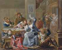 An interior with elegant figures playing cards and merry-making