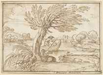 A river landscape with a pollard tree and a boatman