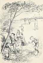 Four illustrations for 'Susan, Bill and the Ivy Clad Oak' by Malcolm Saville (one illustrated)