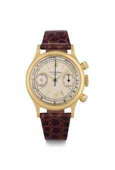 Patek Philippe. A Fine and Rare 18k Gold Chronograph Wristwatch with Pulsometer and Original Certificate