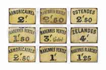 NINE FRENCH TOLE-PEINTE OYSTER-BAR SIGNS