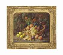 Peaches, grapes and plums in a basket with apples on a mossy bank