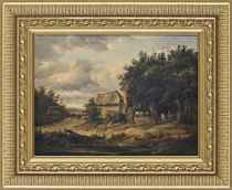 A cottage by a pond with figures by a gate
