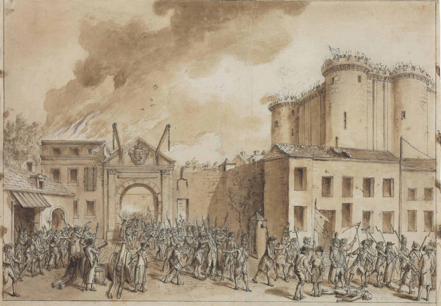 It is a photo of Obsessed Storming Of The Bastille Drawing