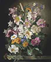 Lilies, aquilegias, marigolds, dog roses and other summer flowers in a vase