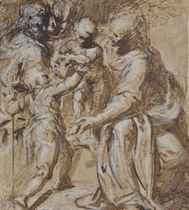 La Sainte Famille avec saint Jean-Baptiste (recto); Croquis de femme et études subsidiaires (verso)
