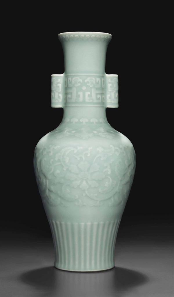 A Very Rare Celadon Glazed Relief Decorated Baluster Vase Qianlong Seal Mark In Underglaze