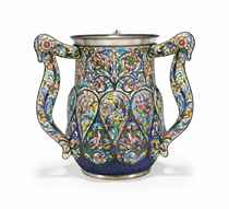 A PARCEL-GILT SILVER AND CLOISONNÉ ENAMEL LARGE THREE-HANDLED CUP