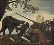 A wooded landscape with a rabbit, a woodpecker, other birds and a shotgun guarded by a hound, two hunters beyond