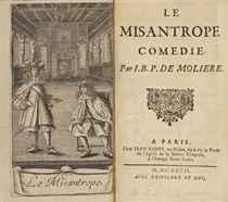 MOLIÈRE (1622-1673). Le Misanthrope. Paris: Jean Ribou, 1667. In-12 (144 x 85 mm). Un frontispice, non signé, gravé à l'eau-forte par F. Chauveau et représentant Molière dans le rôle d'Alceste. Reliure signée Devauchelle, maroquin rouge, double filet doré encadrant les plats, dos à nerfs orné de fers dorés, filet doré sur les coupes et roulette intérieure dorée.