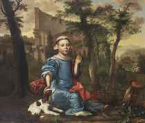 Portrait of a girl, full-length, in a blue dress and red wrap, with a white bonnet and pearl necklace, holding a peach in her left hand, with a dog, in a landscape with the ruins of the Colosseum beyond