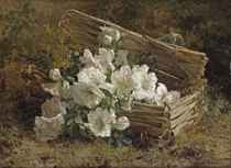 White azaleas and mimosas in a wicker basket on a forest floor