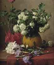 White Vibernums in a yellow vase