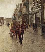 Rokin Westzijde: a horsedrawn cart on the Rokin, Amsterdam