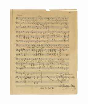 "MENDELSSOHN BARTHOLDY, Felix (1809-1847). Autograph music manuscript signed ('Felix Mendelssohn Bartholdy'), 'Lied von Rückert für eine Alt-Stimme mit Begleitung des Pianoforte', Berlin, 27 April 1842, an unpublished song, 'Des Menschen Herz ist ein Schacht', 29 bars for voice and piano in 5 systems of three staves, in A flat major, a neat, typically elegant manuscript with only two minor textual corrections, inscribed to Privy Councillor [Johann Valentin] Teichmann, 'auf ausdrückliche Bestellung niedergeschrieben' ('written at his express request'), superscribed in autograph with the invocation 'H[ilf] d[u] m[ir]', on one page, large 4to (302 x 228mm), on a bifolium, autograph title page (somewhat browned, splitting affecting a strip to upper margin of music page, the title page somewhat marked and soiled); with an autograph letter signed by Mendelssohn to Teichmann, Leipzig, 3 May 1842, asking him not to circulate the song, 'weil ich es nur auf Ihren Wunsch und nur für Sie geschrieben habe', although as Teichmann has already shown it to the bookseller [Wilhelm] Besser, he may give him a copy, one page, 8vo (231 x 142mm), laid onto verso of title (minor splitting and loss to lower corners). Provenance: T.O. Weigel, Catalogue d'une belle collection de lettres autographes dont la vente publique aura lieu à Leipzig, 12 Juin 1862, lot 490; catalogue of List & Franke, 23 January 1872, 139, no. 2569.   <span style='font-size:9'>A LOST MENDELSSOHN SONG. Since its tantalising appearance in two Leipzig auction catalogues in 1862 and 1872, the song has become something of a classic case of a lost Mendelssohn work. The text is drawn from the second stanza of Rückert's poem 'Das Unveränderliche'. The recipient of the song, Johann Valentin Teichmann (1791-1860), was active for more than forty years as 'geheimer Secretär' in the office of the general management of the royal theatre in Berlin, for which his published </span><span style='font-size:9'>Literarische Nachlass </span><span style='font-size:9'>is an important source.  He lived on an upper floor at the Mendelssohn Bartholdy house at Leipzigerstrasse in Berlin from 1828 to 1831</span><span style='font-size:9'>. </span><span style='font-size:9'>Literature: Leipziger Ausgabe der Werke Felix Mendelssohn Bartholdys </span><span style='font-size:9'>(Deutscher Verlag für Musik, 2009), vol.13</span><span style='font-size:9'> (Mendelssohn Werkverzeichniss</span><span style='font-size:9'>), K.111; </span>Ralf Wehner. '""It seems to have been lost"": On Missing and Recovered Mendelssohn Sources', The Mendelssohns. Their music in history. Oxford: OUP, 2002, pp.9 & 18."