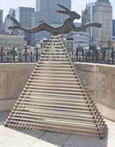 Six Foot Leaping Hare on Steel Pyramid