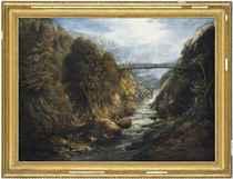 The bridge across the waterfall