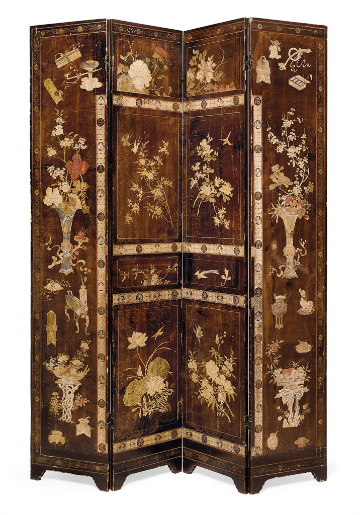 A CHINESE COROMANDEL LACQUER FOUR-FOLD SCREEN