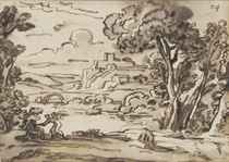 An Italianate river landscape with Tobias and the Angel