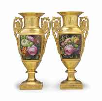 A PAIR OF PARIS (DARTE FRERES) PORCELAIN GOLD-GROUND VASES